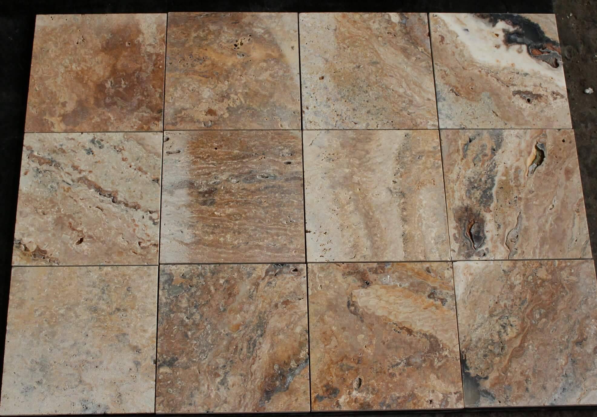 20,3х20,3х1,2 Travertine scabas фото 1 — изелия и проекты от Bevers Marmyr