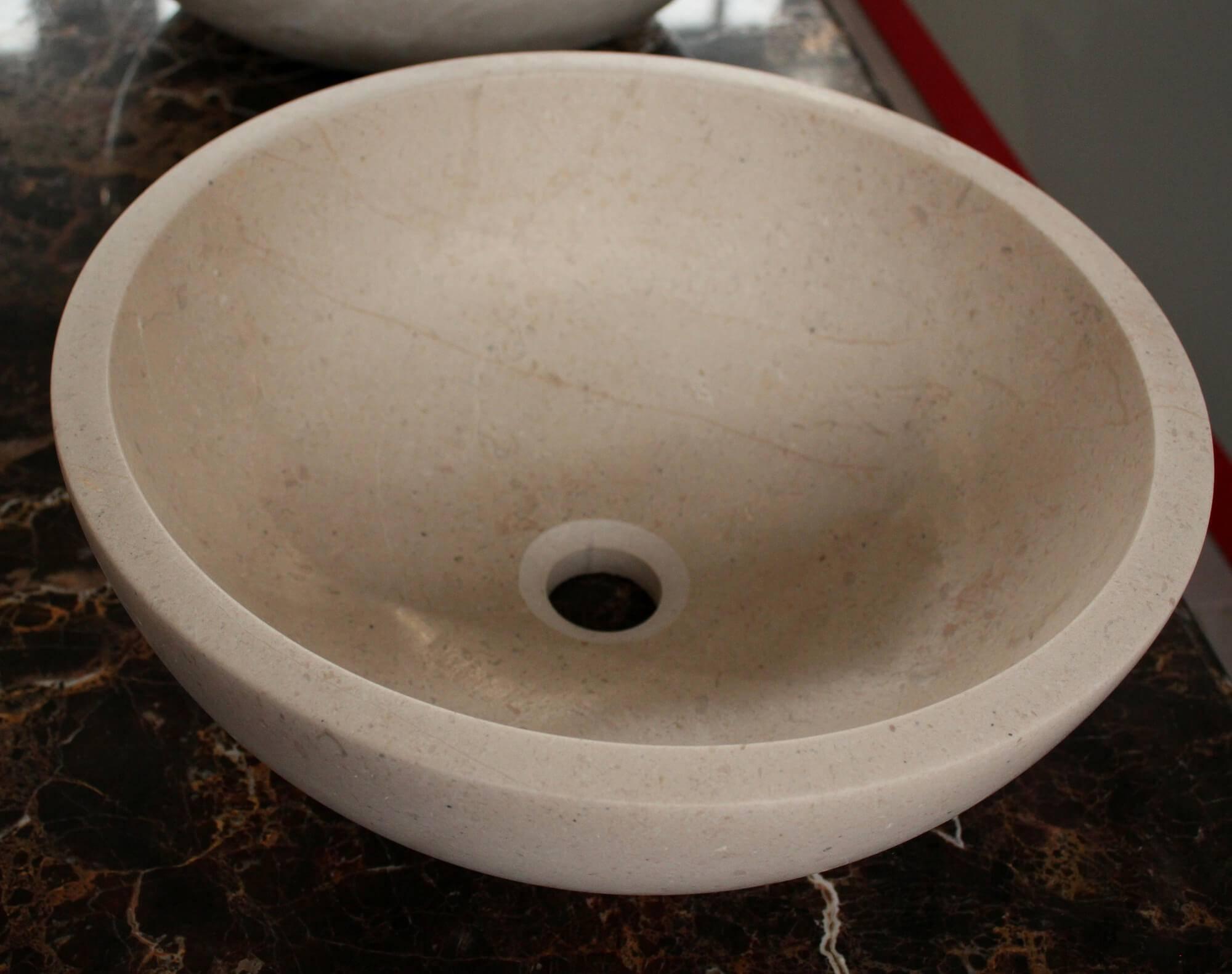 Бежевый круглый умывальник из мрамора, Турция фото 1 — изелия и проекты от Bevers Marmyr