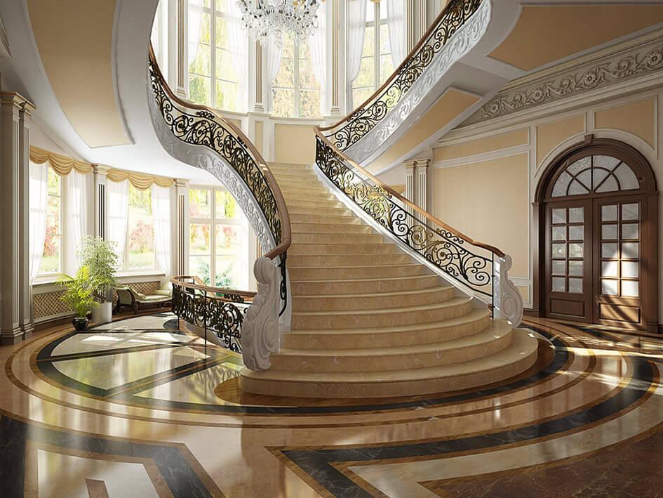 заказать лестницу из мрамора в Киеве