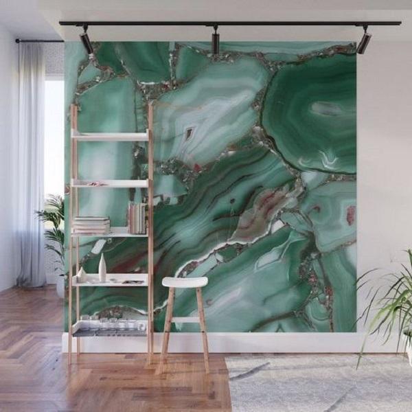 Зелений мармур у вітальні